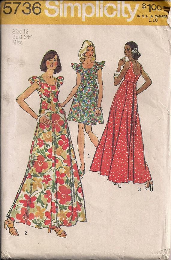 Vintage 70s UNCUT Sewing Pattern Billowy Muu Muu MAXI DRESS by HoneymoonBus, $11.99