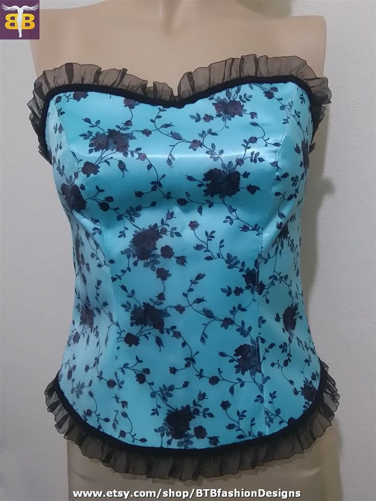 Turquoise bustier top, turquoise crop top, turquoise corset top, turquoise floral bustier, turquoise floral corset, strapless bustier top by BTBfashionDesigns on Etsy