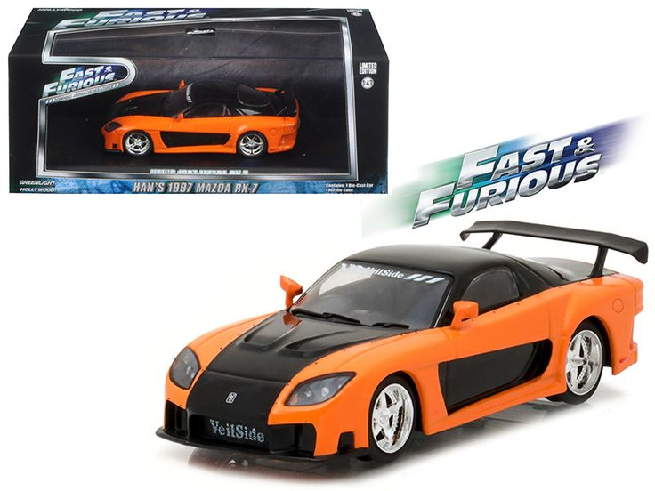 Han's 1997 Mazda RX-7 Fast and Furious: Tokyo Drift Movie (2006 ) 1/43 Diecast Model Car by Greenlight - Brand new 1:43 scale diecast car model of 1997 Mazda RX-7 Fast and Furious: Tokyo Drift Movie (2006 ) die cast car model by Greenlight. Rubber tires. Brand new box. Limited Edition. Detailed interior, exterior. Comes in plastic display showcase. Dimensions approximately L-5 inches long.-Weight: 1. Height: 5. Width: 9. Box Weight: 1. Box Width: 9. Box Height: 5. Box Depth: 5