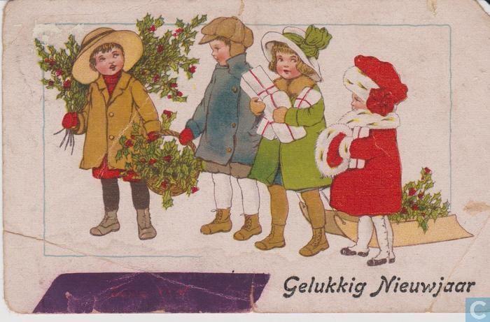 Ansichtkaart - Noord-Holland - Gelukkig Nieuwjaar - Vier kinderen met hulst en slede
