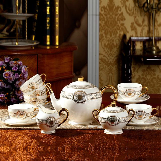 Tea pot set ceram способа высокого Качества костяного фарфора, набор для приготовления кофе 15 шт. набор чая западу посуда послеобеденный чай чашка с блюдцем чашки