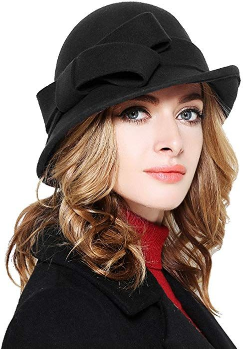 33ce37263a19b Bellady Women Solid Color Winter Hat 100 percent Wool Cloche Bucket with  Bow Accent