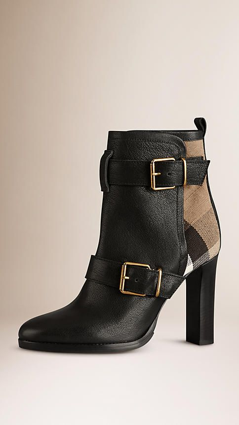 Black Check Panel Belted Buffalo Leather Boots - Image 1