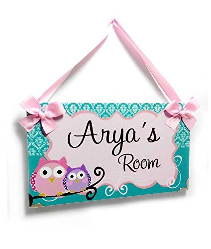 Personalized Girls Bedroom Door Plaque, Teal Damask Pattern with 2 Pink and Purple Owls