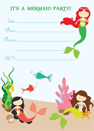 Mermaid Party Invitation free printable Lets Party! Pinterest