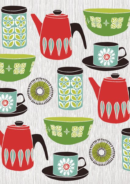 Retro Kitchen Print: Kitchens Design, Screens Prints, Teas Towels, Kitchens Wall, Color Schemes, Patrick'S Edgeley, Modern Kitchens, Kitchens Prints, Retro Kitchens
