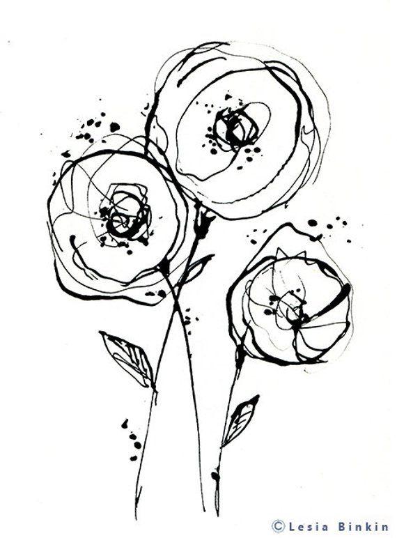 Black And White Monochrome Painting Line Art Flower Print Etsy
