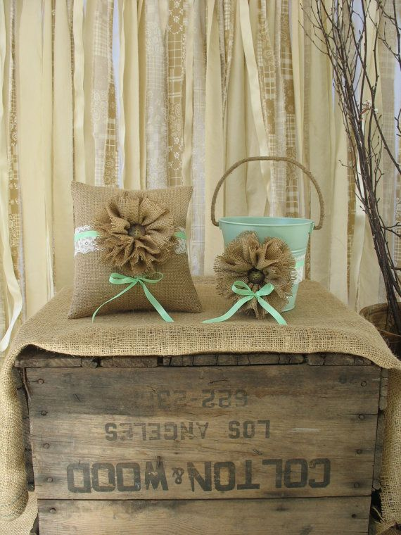 Flower Girl Basket Ring Bearer Pillow Set Shabby Chic Wedding Rustic Wedding Mint