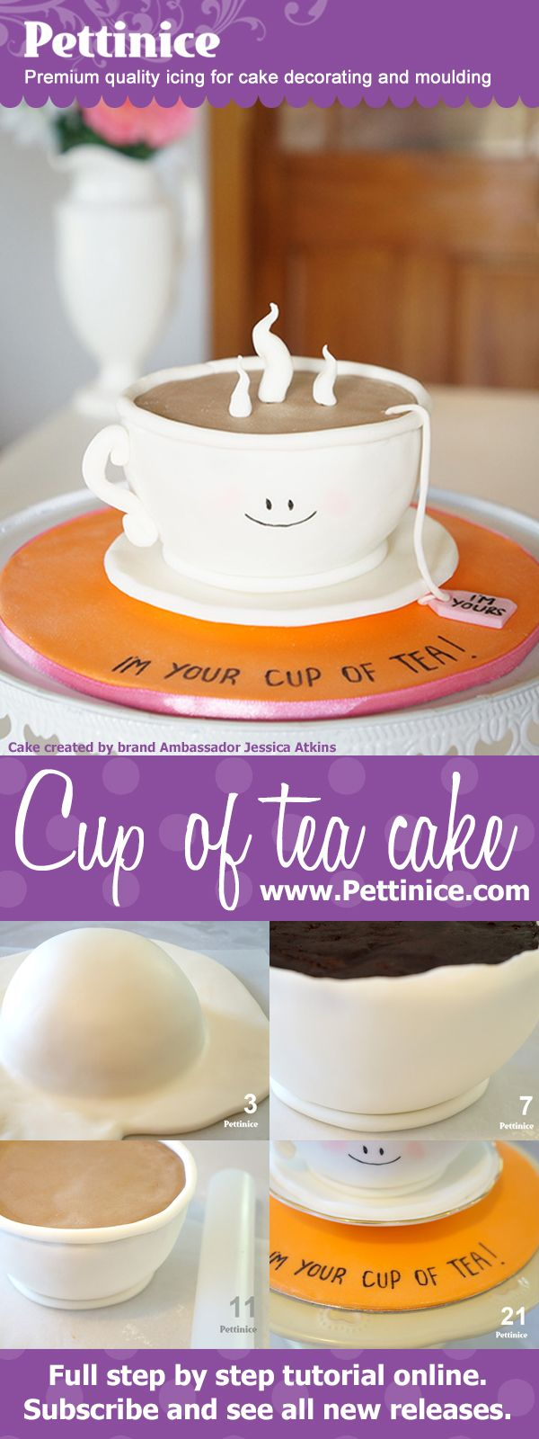 """FREE! Cake tutorial showing how to make a 6"""" round 3D cup of tea cake with Pettinice Brand Ambassador Jessica Atkins of Rosy Cakes. What a cute teacup!"""