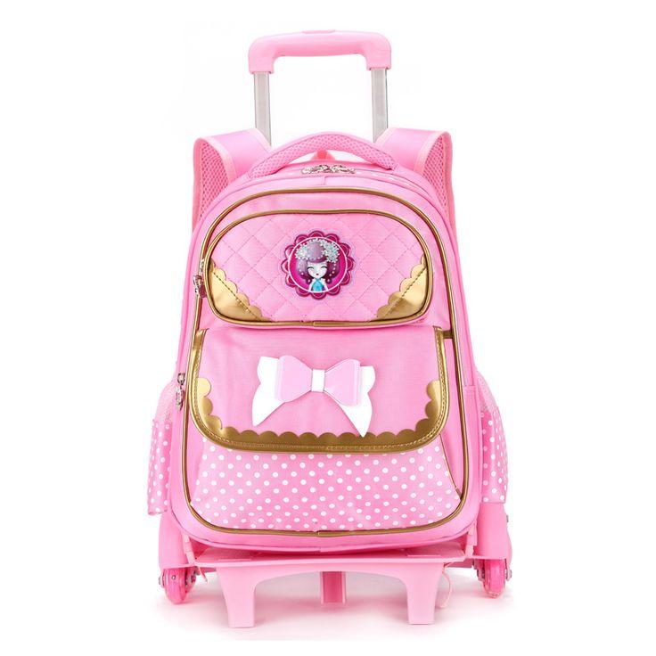 Trolley school bags for girls rolling children backpack travel trolley bag school backpacks wheels bolsas mochilas femininas #Affiliate