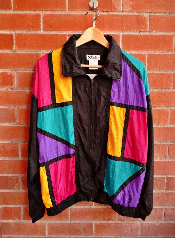 Vintage SLADE Neon 80s Hip hop New wave electro Nu Rave Swag Baroque Silky Bomber Jacket