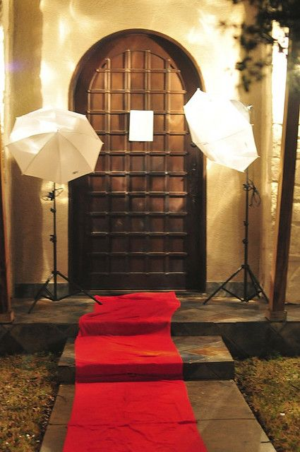 Red Carpet Treatment (using red towels) for an Oscar's Party Theme