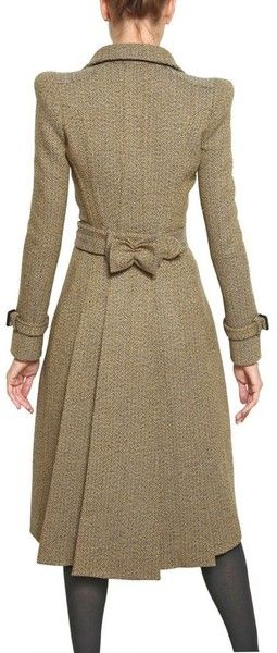 Burberry Prorsum Herringbone Tweed Coat in Beige - Lyst