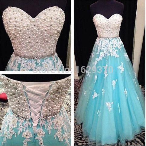 White&Blue Strapless Lace Applique Wedding Dress Evening Dress Bridal Gown