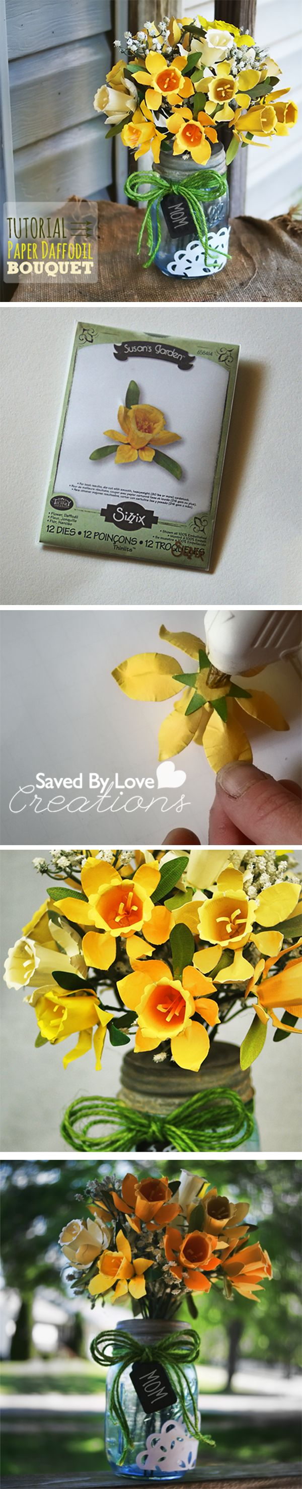 Learn to make a gorgeous Paper Daffodil Bouquet #sizzix and painted #masonjar vase