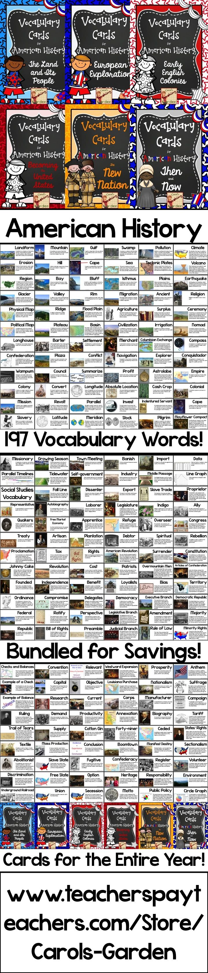 197 American History Vocabulary Cards: complete with illustrations and definitions, plus bundled for savings! $
