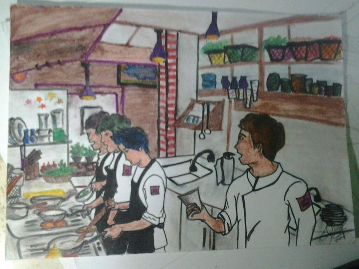 Ediai pensil warna water color., suasana dapur