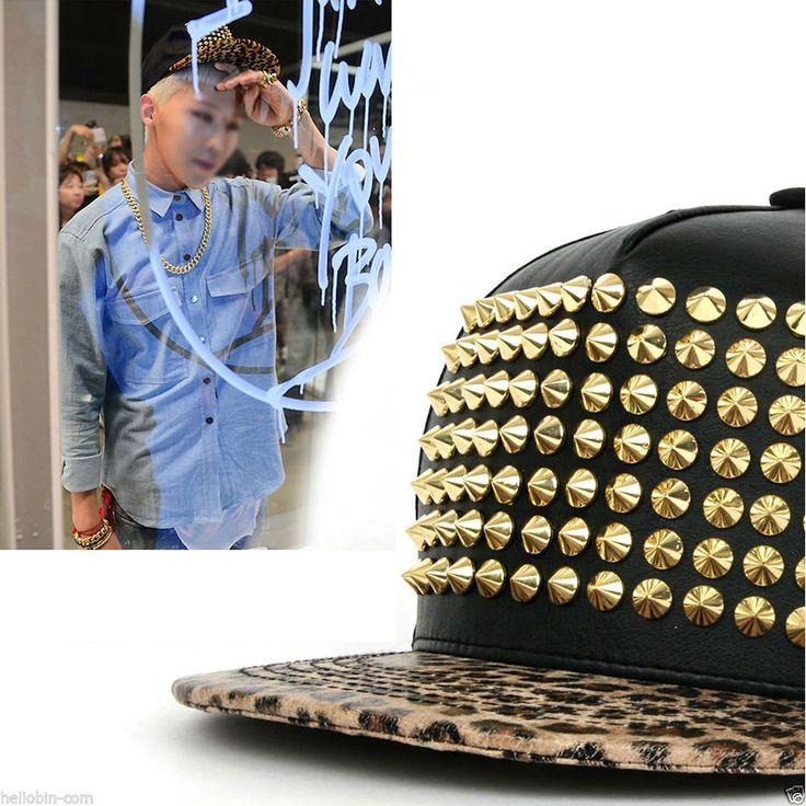 Bigbang G-Dragon Studded Rivet Snapback Baseball Adjustable K-Pop Star Hats Caps #hellobincomDOTO #BaseballHiphop