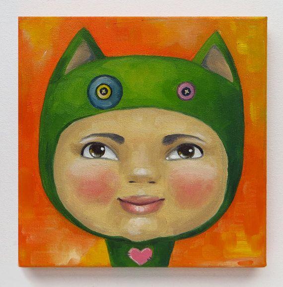Miki's Sister Portrait Original Art Baby Babe Cat