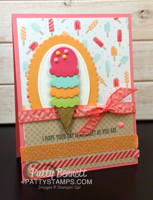 Cool Treats Ice Cream Cone Cards by Patty Bennett, featuring Tasty Treat paper and Frozen Treats framelits and Washi Tape. Occasions catalog products, 2017.