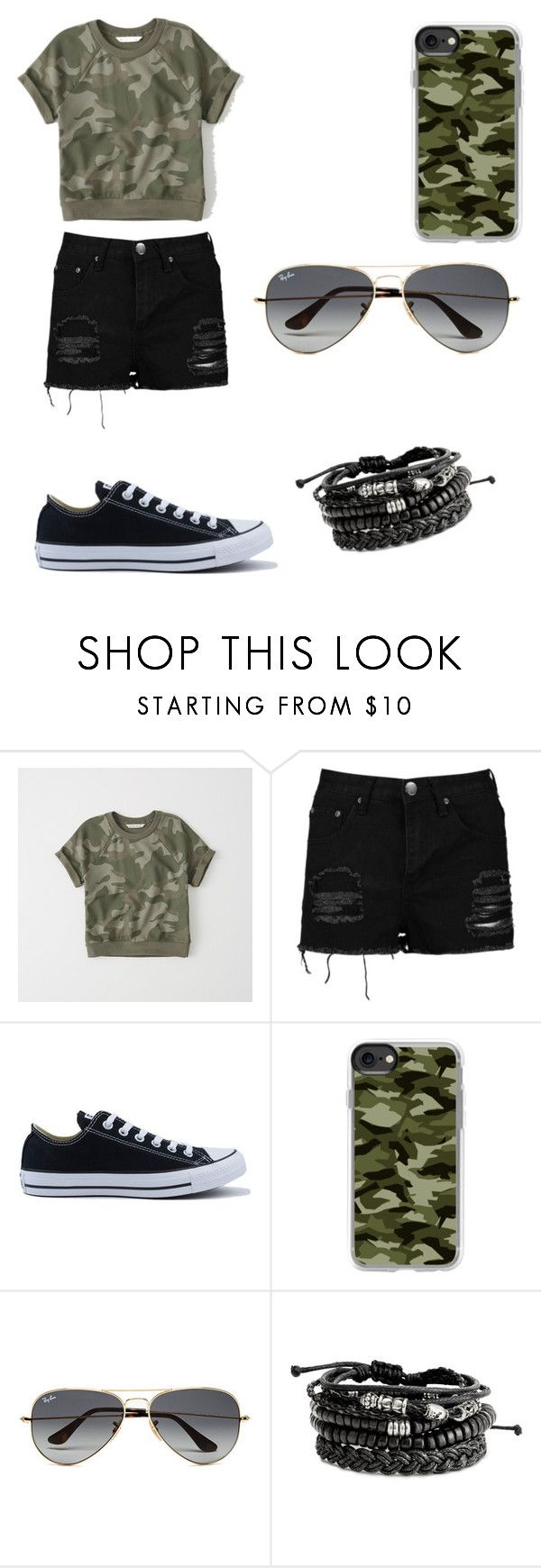 """army outfits"" by oce-saurin ❤ liked on Polyvore featuring Abercrombie & Fitch, Boohoo, Converse, Casetify and Ray-Ban"