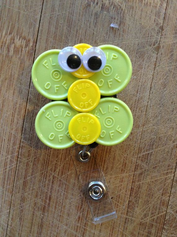 Butterfly Oogle Eyes ID Badge Holder With Retractable Reel - Made From Vial Flip Off Caps (white, green, yellow, black, butterfly)