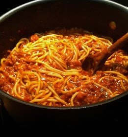 Homemade Spaghetti - My Mother's recipe that's been used for many a fundraising supper over the years.