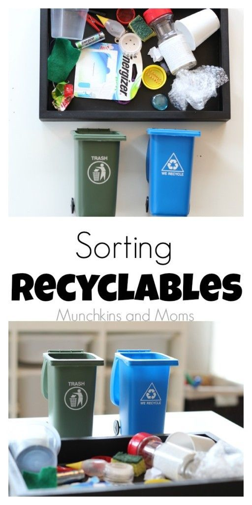 Teach preschoolers about recycling with this simple activity! Great for Earth Day preschool lessons!