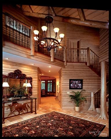 Interior Staircase And Supports. Log Home ...