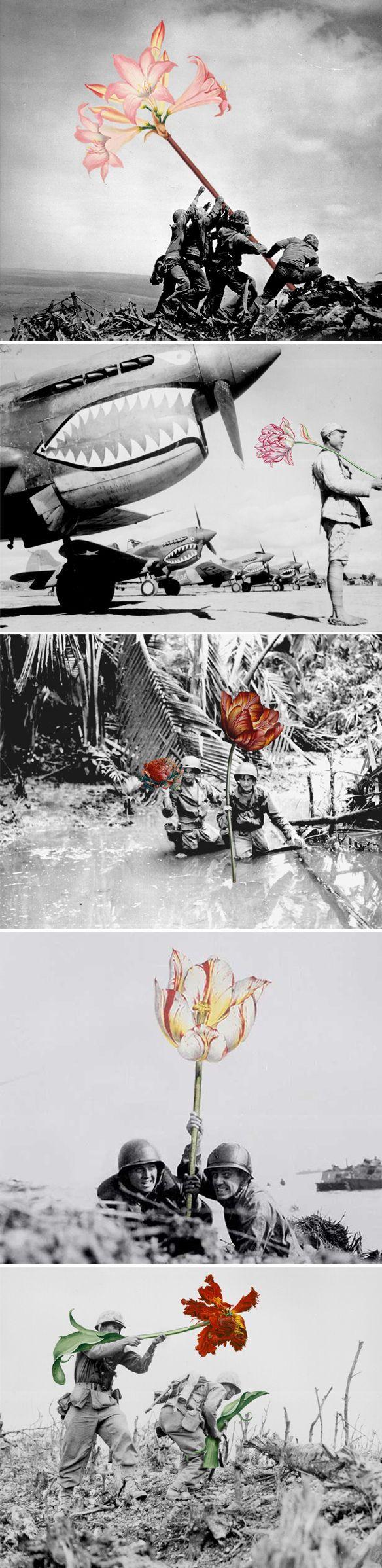 "Er stond bij ""flowers in place of guns. Thank you, mister Blick"" | Mister Blick, Flowers, not guns"