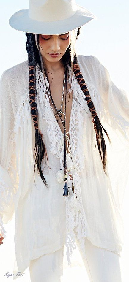 Summer white gypsy tunic with modern hippie suede covered braids and boho chic hat & extra long necklaces. For the best Bohemian fashion & jewelry FOLLOW >> https://www.pinterest.com/happygolicky/the-best-boho-chic-fashion-bohemian-jewelry-gypsy-/ << now.