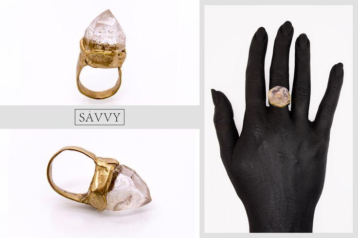 SAVVY jewellery, Poland. https://www.etsy.com/shop/jewellerySAVVY  crystal, brass ring