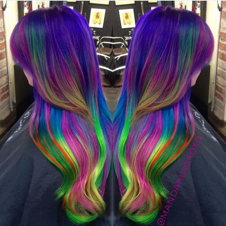 Dramatic neon rainbow hair by Amanda King mermaid hair unicorn hair vivid hair color hotonbeauty.com