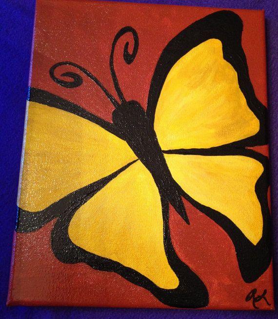 Yellow butterfly acrylic painting on 8x10 by BabyBowserAndBeads, $50.00