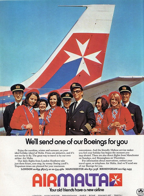 An Air Malta 70's advert showing the smiling, cheerful crew with the old Air Malta uniforms. The old Air Malta logo is depicted on the Boeing 720 tail in the background. The iconic cross is the symbol of the Maltese Islands.