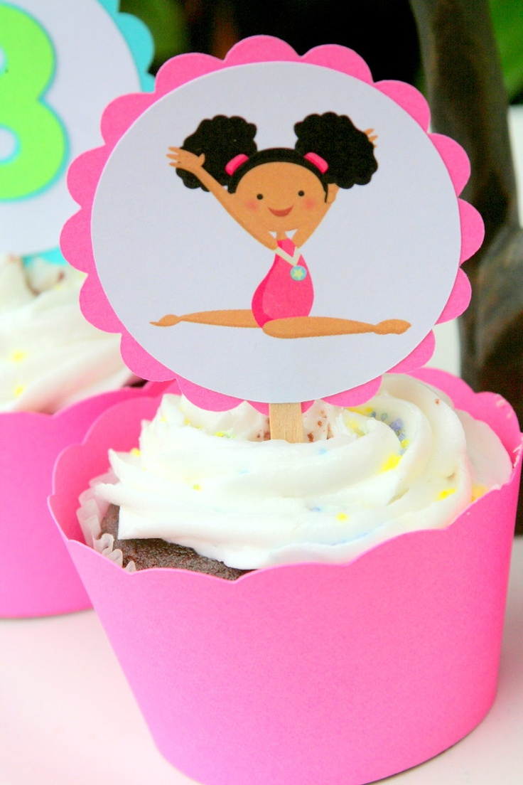 Gymnastics Party Cupcake Toppers Set of 12. $6.00, via Etsy.