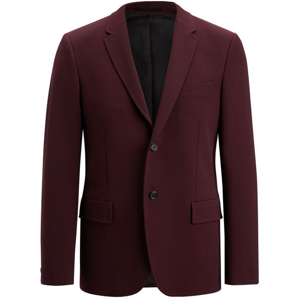 Joseph Techno Wool Stretch Reading Suiting Jacket ($760) ❤ liked on Polyvore featuring men's fashion, men's clothing, men's outerwear, men's jackets, burgundy, mens wool jacket, mens burgundy jacket and mens wool outerwear