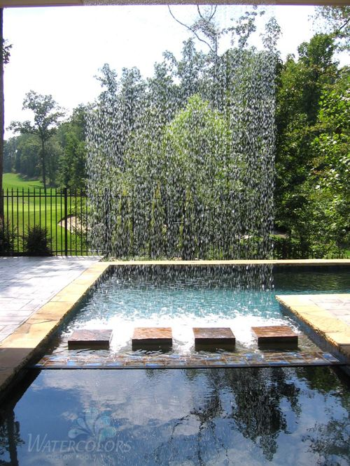 Waterfall shower at the poolCustom Pools, Swimming Pools, Gardens Fountain, Watercolors Custom, Gardens Water, Outdoor Water Features, Outdoor Gardens, Dreams Pools, Vertical Water