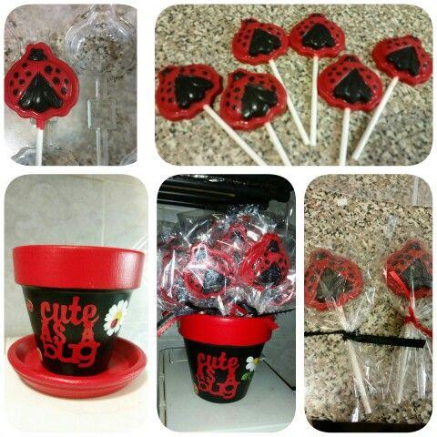 Lady Bug Flower Pot #cuteasabug #itsagirl #firstbirthday #ladybug #cricutairideas