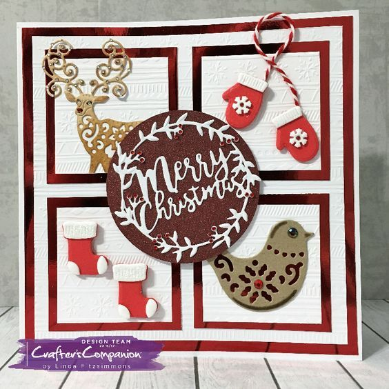 Side fold card made using Sara Signature Scandinavian Christmas Collection – Merry Christmas die. Designed by Linda Fitzsimmons #crafterscompanion