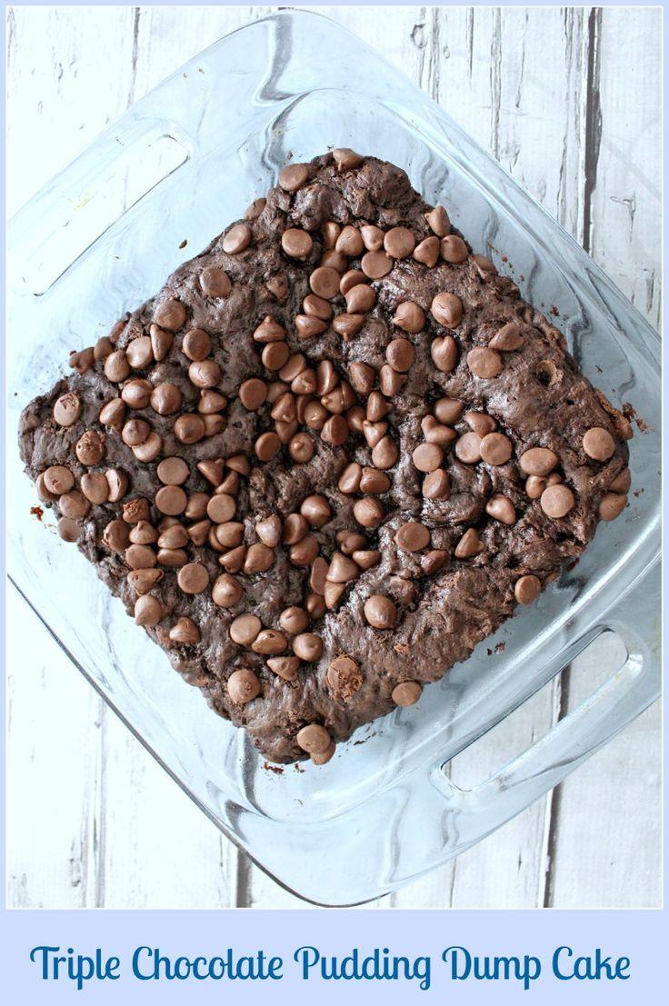 Triple Chocolate Pudding Dump Cake » Skinny Sweets Daily