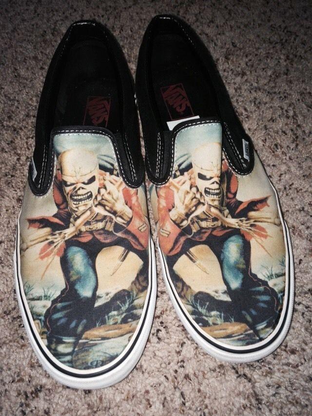 5ffe2102c7 Iron Maiden The Trooper Vans Slip On Shoes 12 Slayer Kiss Metallica ...