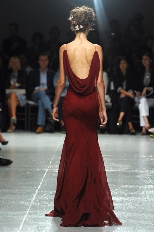 Backless ox blood dress, I am obsessed with this color