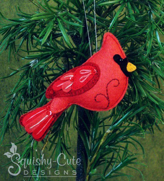 Cardinal Sewing Pattern PDF - Backyard Bird Stuffed Ornament - Felt Plushie - Clarence the Cardinal - Instant Download by SquishyCuteDesigns on Etsy https://www.etsy.com/listing/178956540/cardinal-sewing-pattern-pdf-backyard