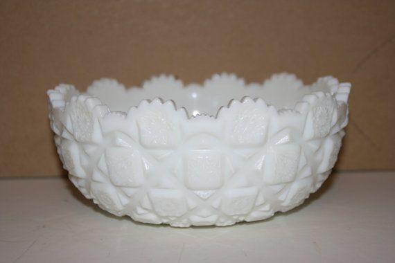 "Westmoreland Old Quilt Milk Glass Serving Bowl, 7½"" x 3¼"". $17.00 at chuckandjobob on etsy, 9/5/15"