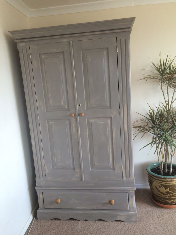Vintage pine shabby chic wardrobe painted in ASCP old ochre & French linen. £280.00