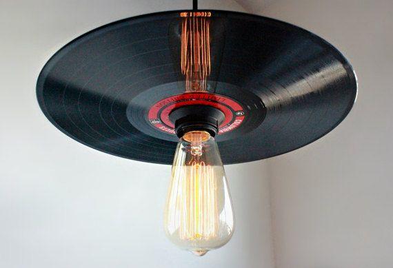 Vinyl Record Pendant Light  Rock N' Roll Decor  by Houselights