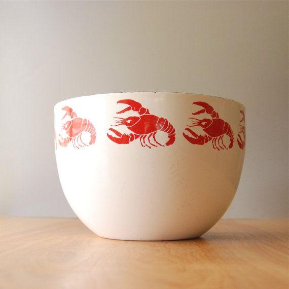Vintage Finel Lobster Enamel Bowl by Kaj Franck by DipperVintage, $150.00