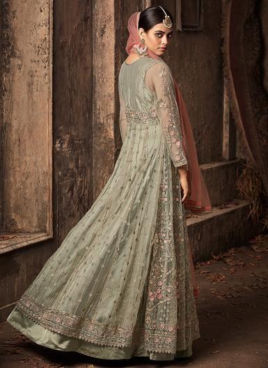 e109fe4cae Light Mint Green and Pink Heavy Embroidered Net Anarkali | Suits | Designer  anarkali dresses, Anarkali dress, Salwar kameez