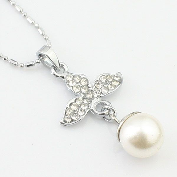 Simple mode en argent collier en strass